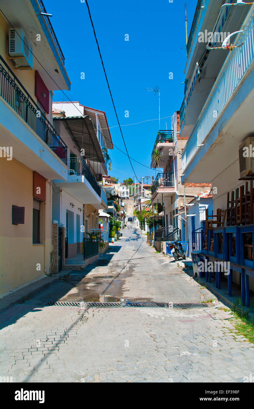 alley architecture blue building buildings city day door europe greece greek historic home house houses mediterranean - Stock Image