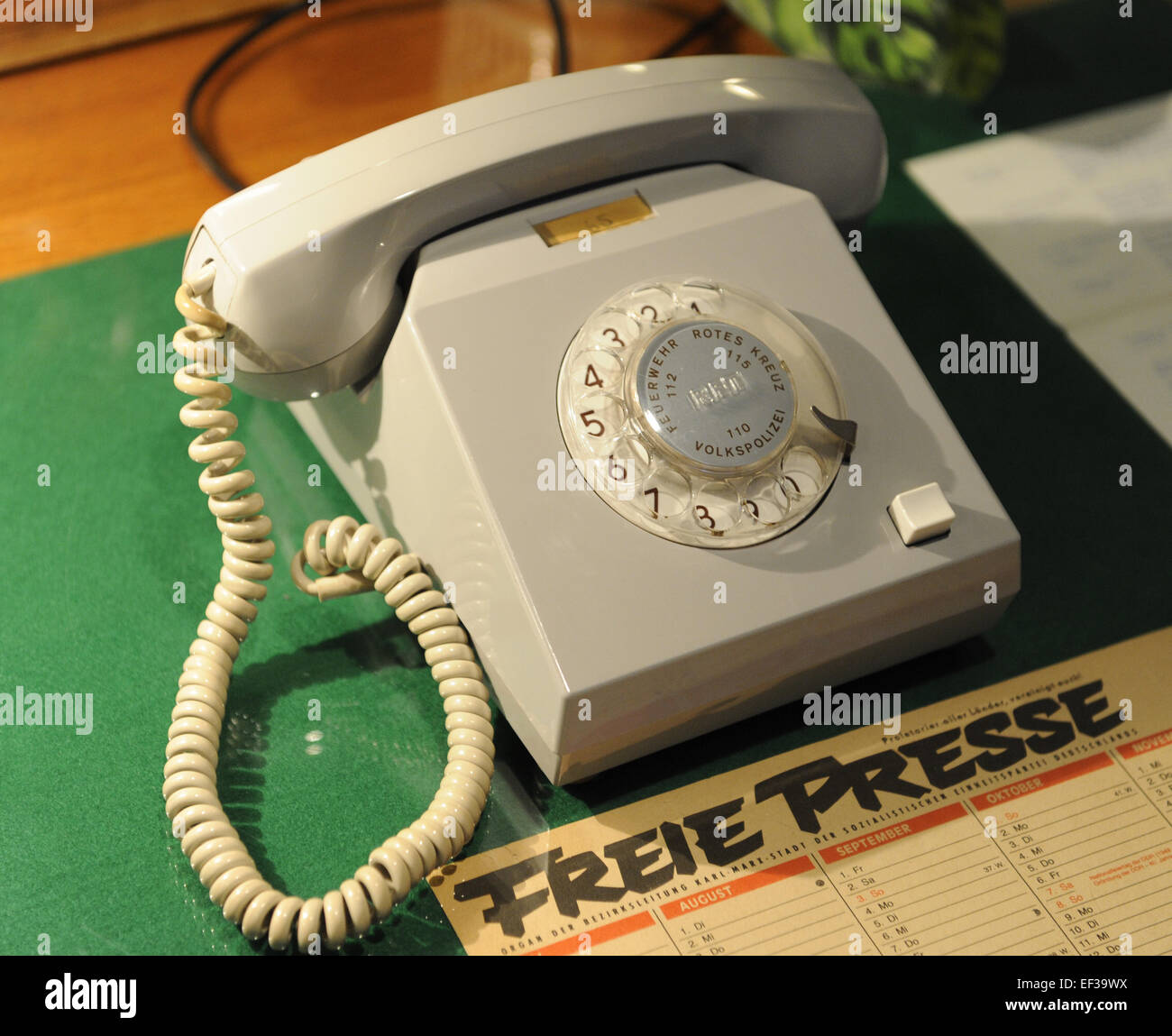 German Democratic Republic. Reproduction of an official work table. Phone. DDR Museum. Berlin. Germany. - Stock Image