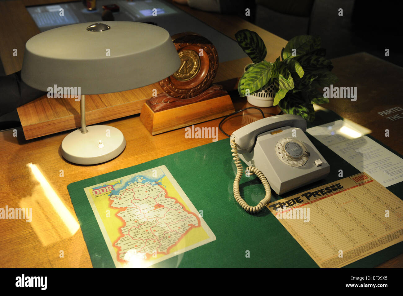 German Democratic Republic. Reproduction of an official work table. DDR Museum. Berlin. Germany. - Stock Image