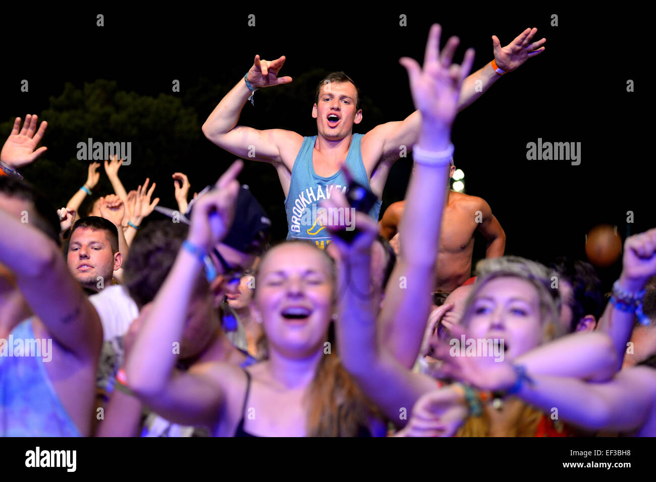 BENICASSIM, SPAIN - JULY 20: Crowd in a concert at FIB Festival on July 20, 2014 in Benicassim, Spain. - Stock Image