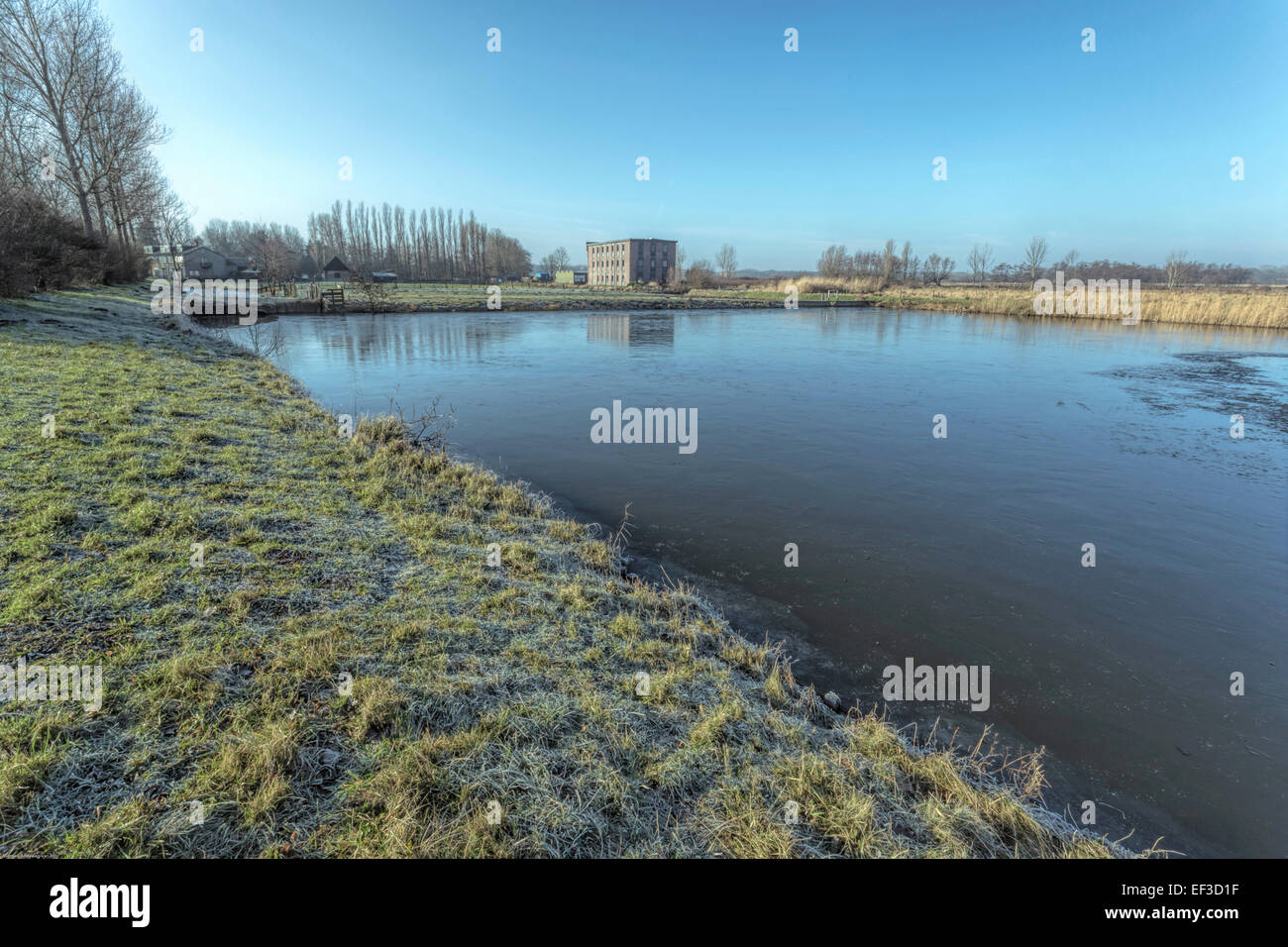 Wassenaar, South Holland, The Netherlands: A Dutch winter morning mood: Frost on the ground, frozen water and a - Stock Image
