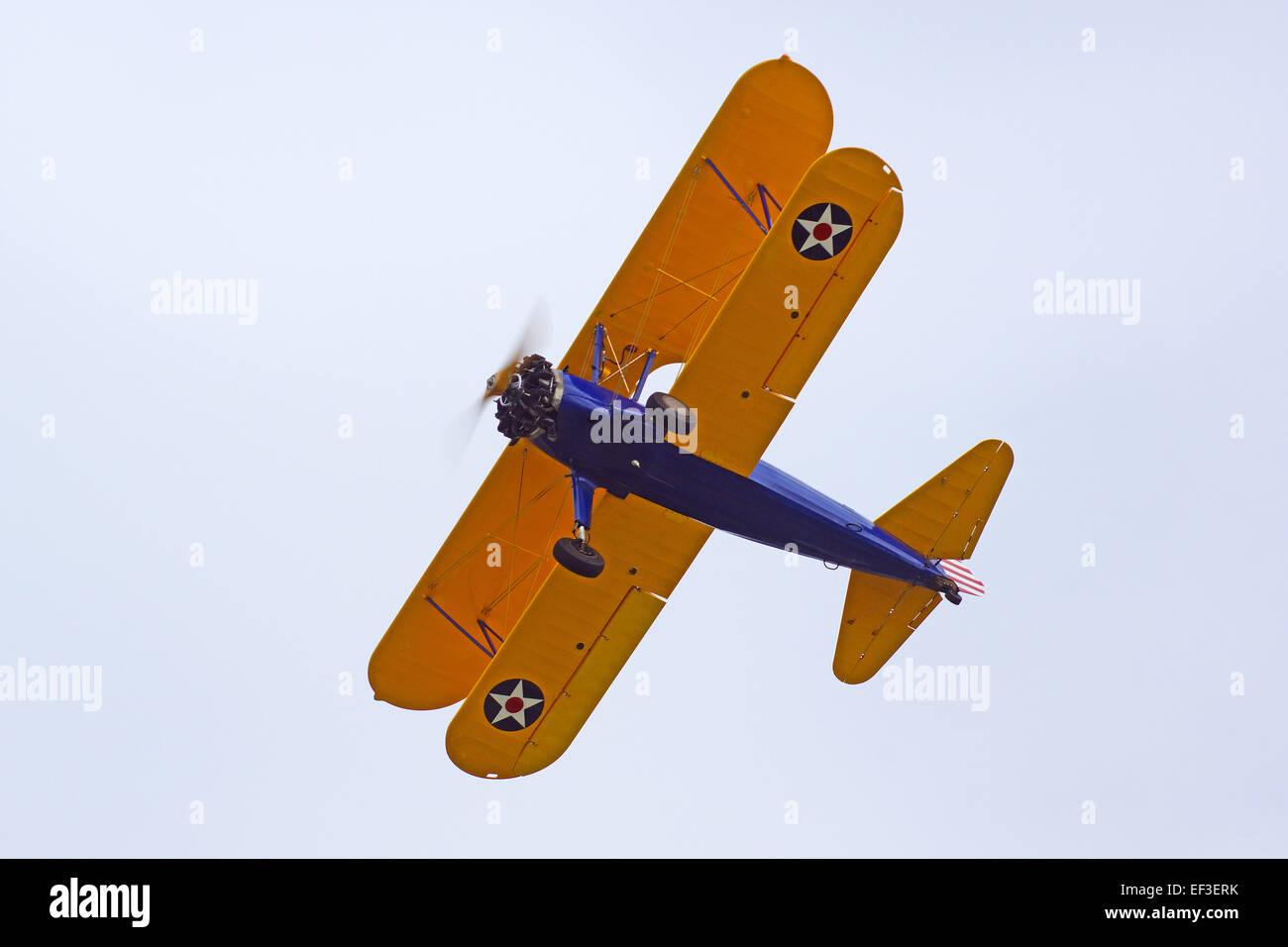 Airplane Bi-plane flying at 2015 Air show - Stock Image