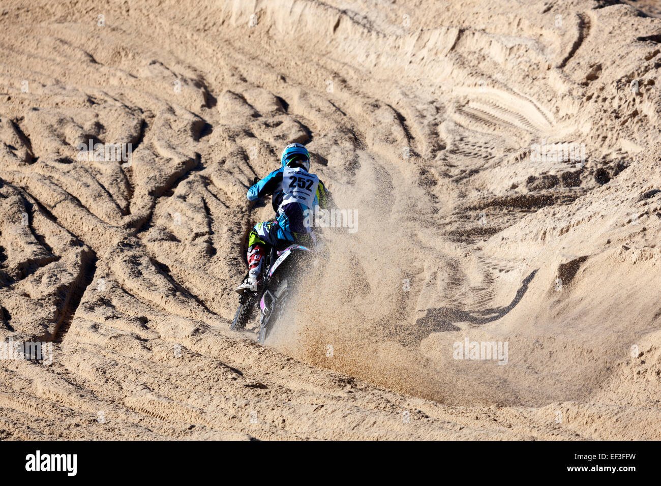 The Hossegor's 'round dance of the sands' (France). This racing motorcycle event combines speed, endurance - Stock Image