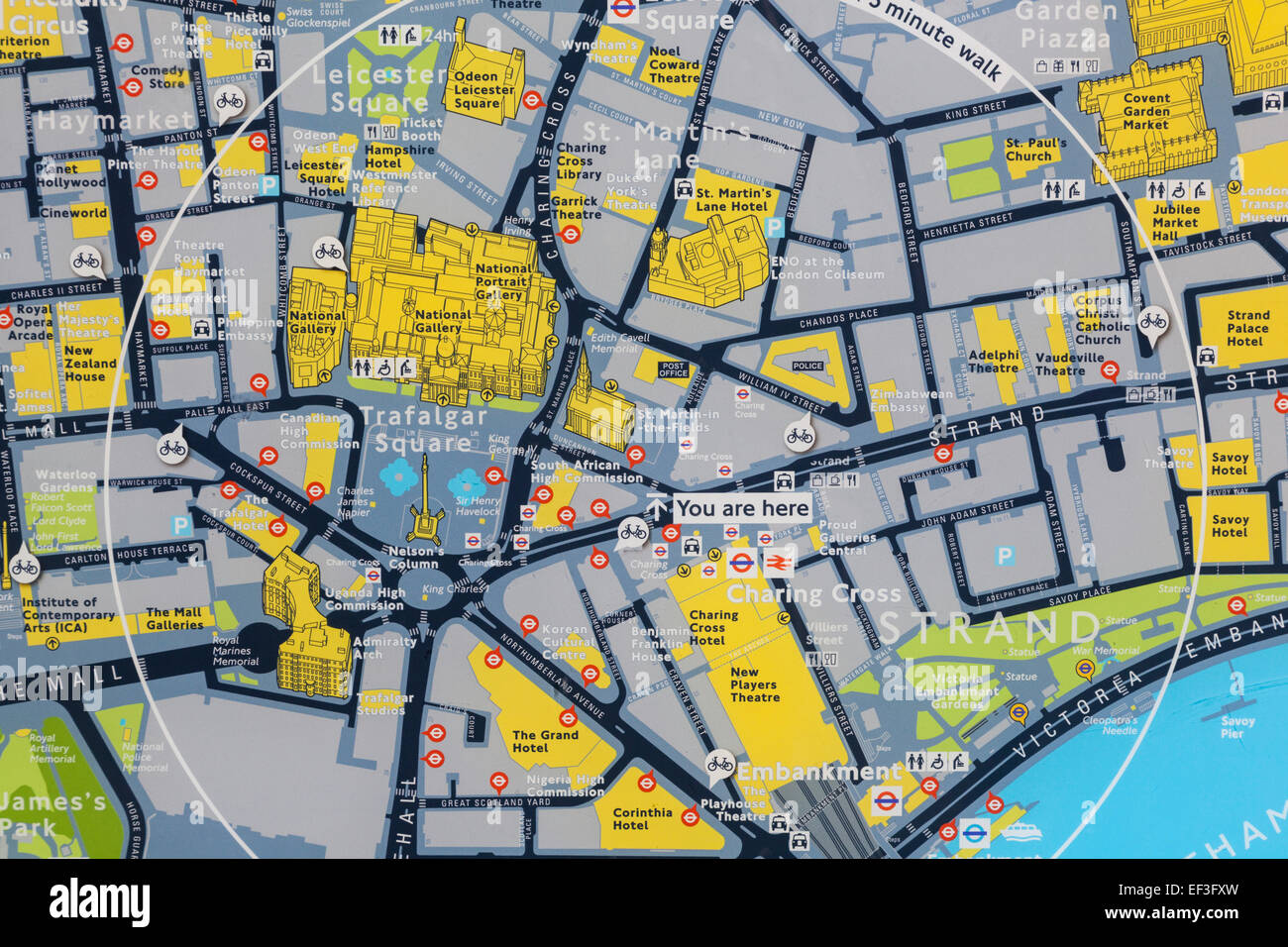 england london street map of trafalgar square and surrounding area stock image