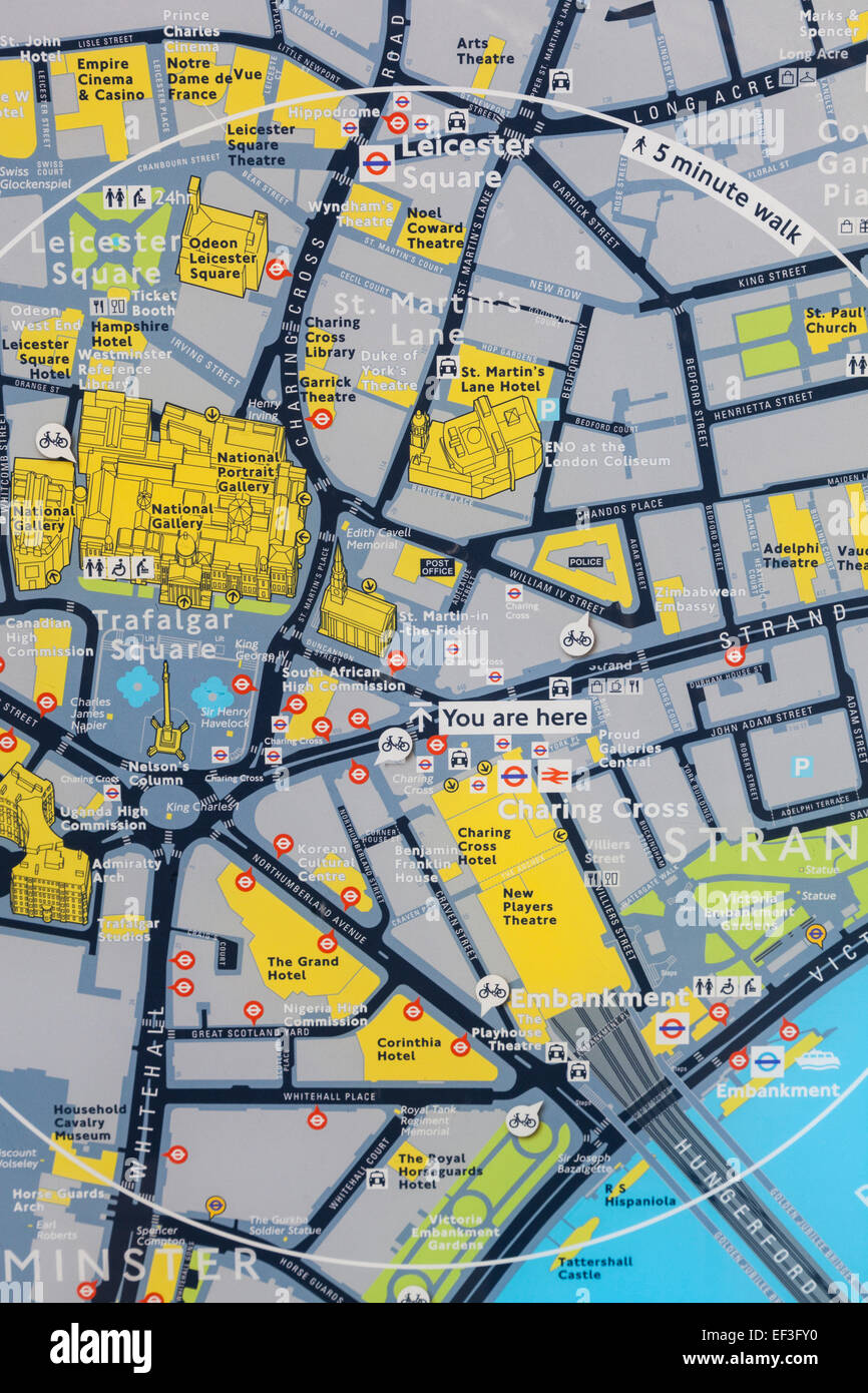 England London Street Map Of Trafalgar Square And Surrounding Area
