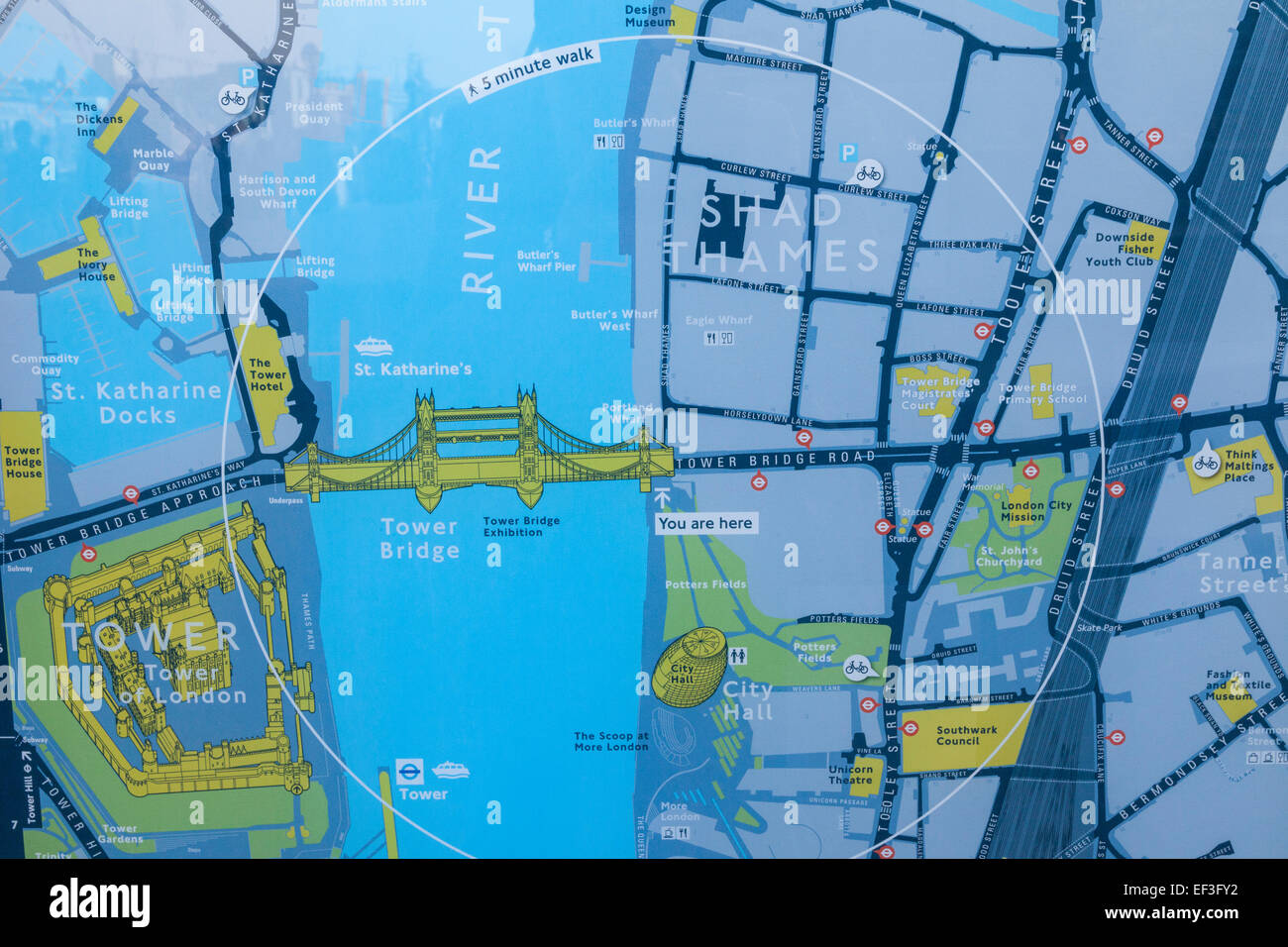 Map London Bridge.England London Street Map Of Tower Bridge And Surrounding Area