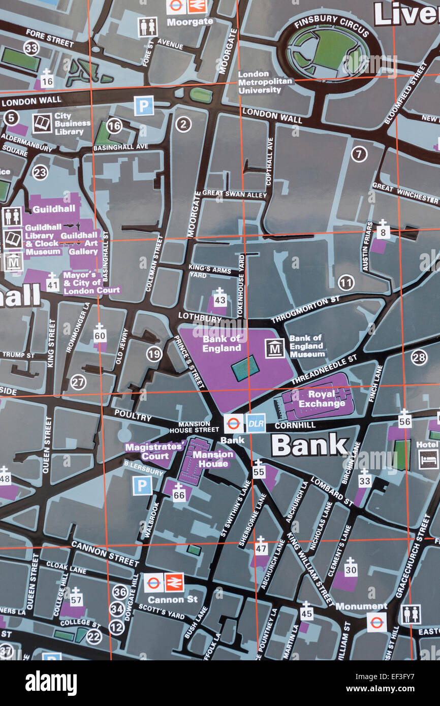 Map Of London England And Surrounding Area.England London Street Map Of The City Of London Showing Bank Of