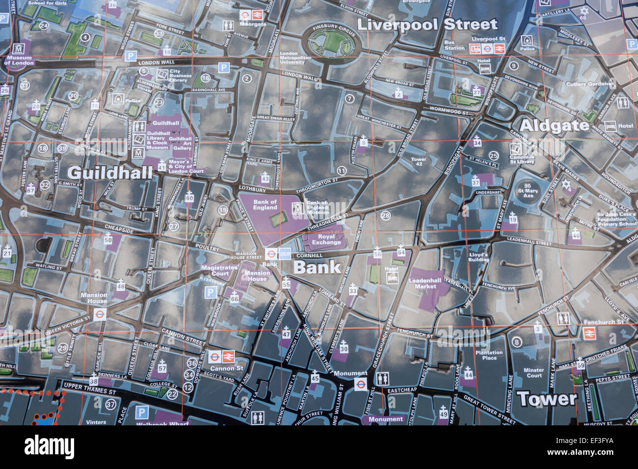 england london street map of the city of london showing bank of england and surrounding area