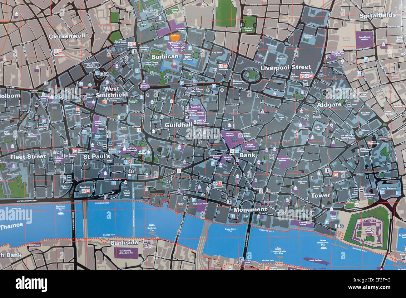 London City Area Map.England London Street Map Of The City Of London Stock Photo