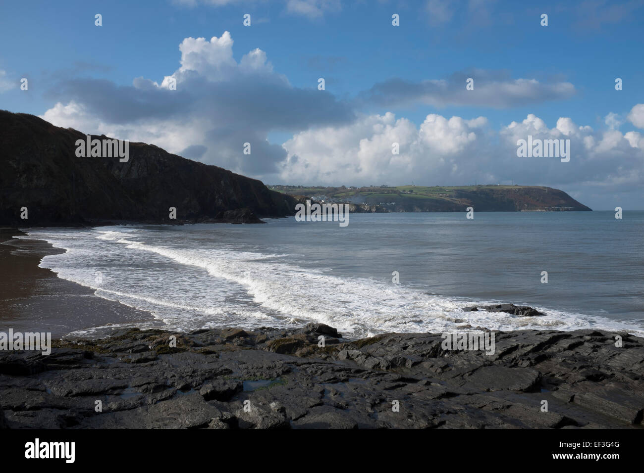 The beach in the village of Tresaith, Ceredigion. Tresaith lies between Aberporth and Llangranog in west Wales, - Stock Image