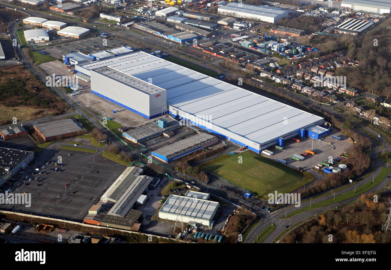 aerial view of the QVC factory at Knowsley, Merseyside - Stock Image