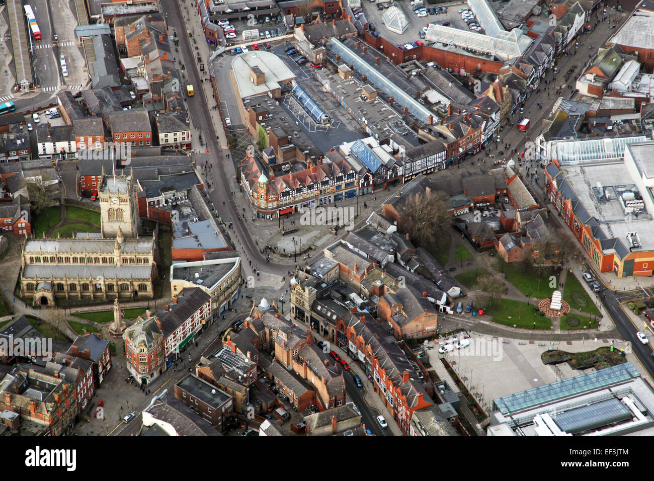 aerial view of Wigan town centre including Parish Church and Wallgate, Lancashire, UK - Stock Image