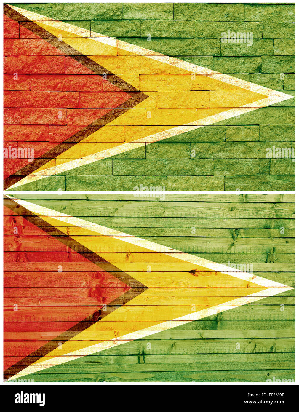Vintage wall flag of Guyana - Stock Image