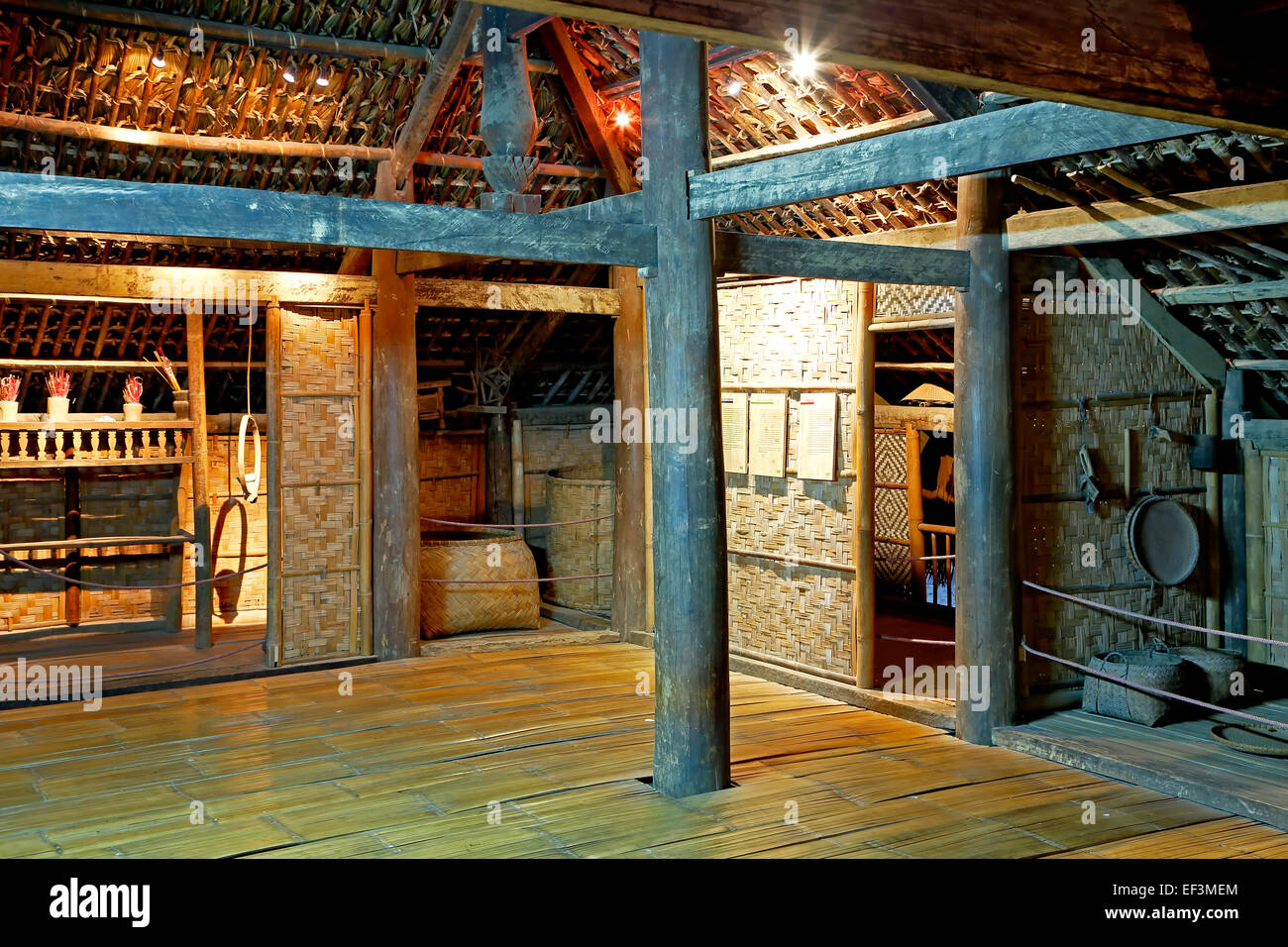 Interior of Tay house, Vietnam Museum of Ethnology, Hanoi, Vietnam - Stock Image
