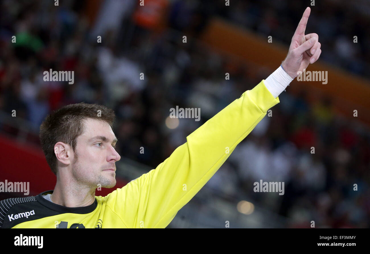 Germany's goalkeeper Carsten Lichtlein gestures during the men's Handball World Championship 2015 Round - Stock Image
