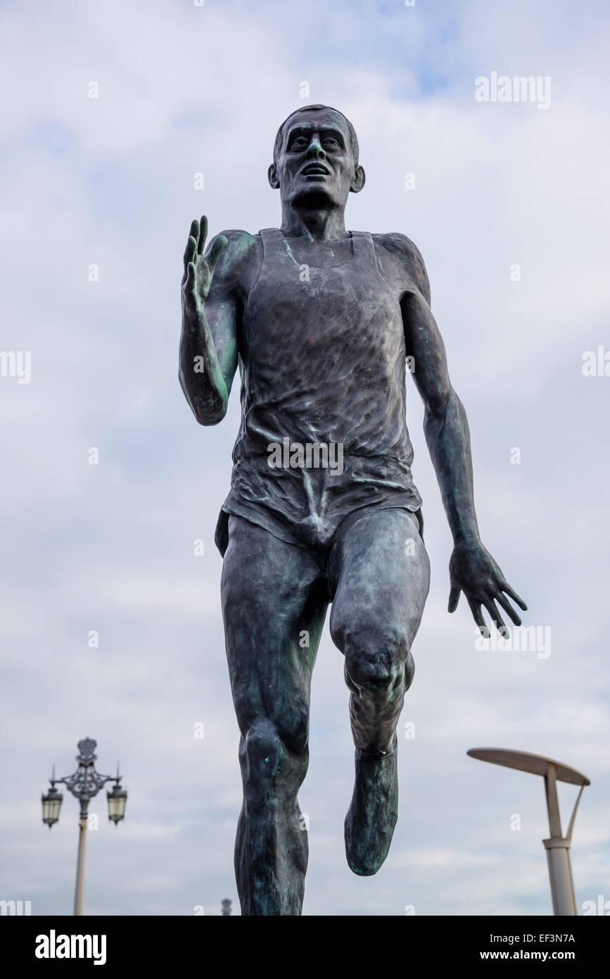 Sculpture of Olympian Steve Ovett, Brighton, East Sussex, England, Uk - Stock Image