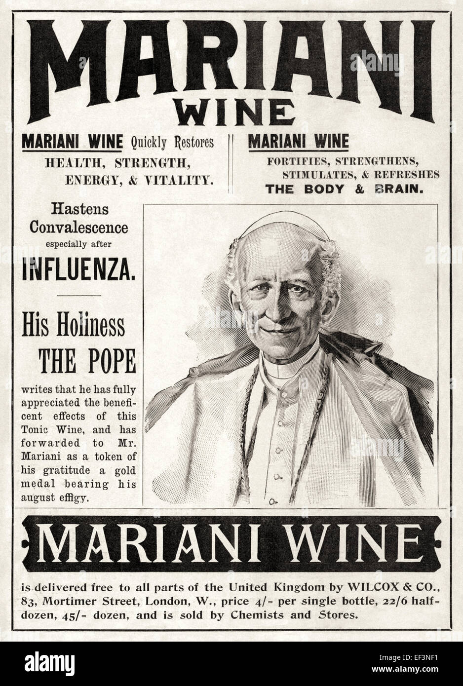 """""""Mariani Wine"""" (aka """"Vin Mariani"""") print advertisement featuring the product endorsement of Pope Leo XIII. See description Stock Photo"""