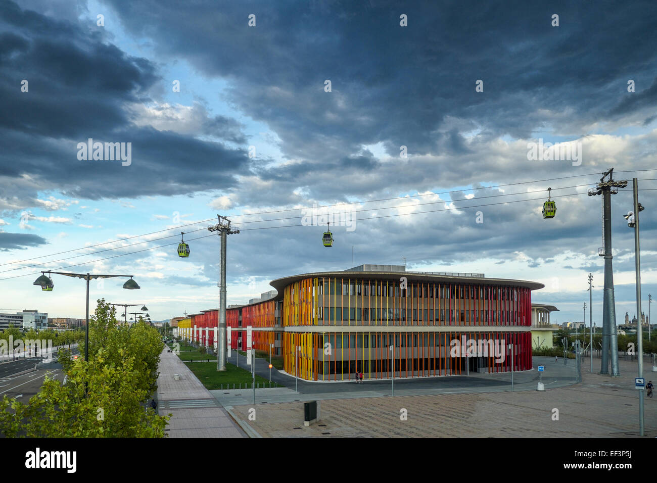 Expozaragoza exhibition area during a summerly storm, Saragossa, Aragón, Spain Europe - Stock Image