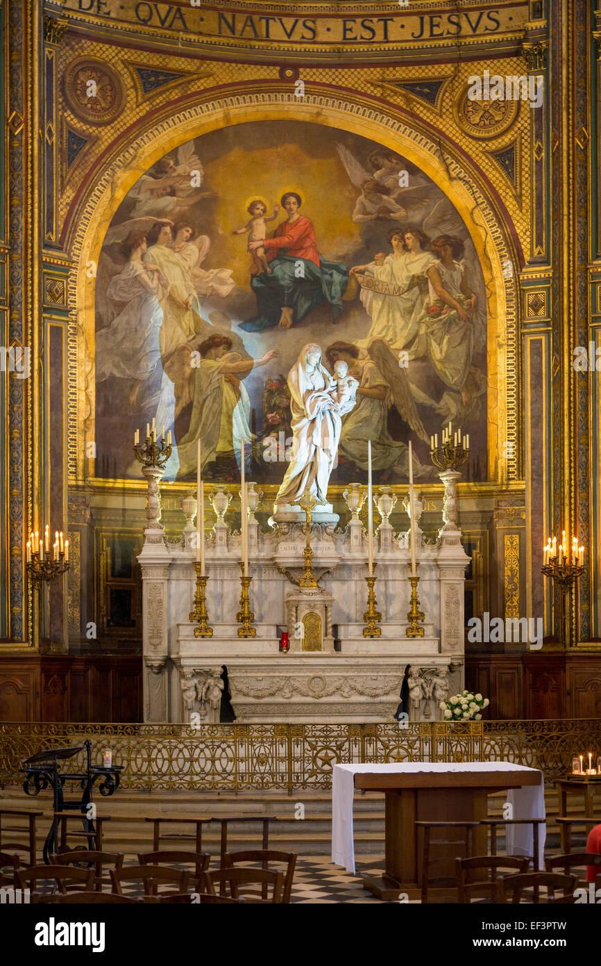 Chapel of the Virgin inside the imposing, Gothic  L'Eglise Saint Eustache, b. 1532-1632, in Les Hall, Paris, France Stock Photo