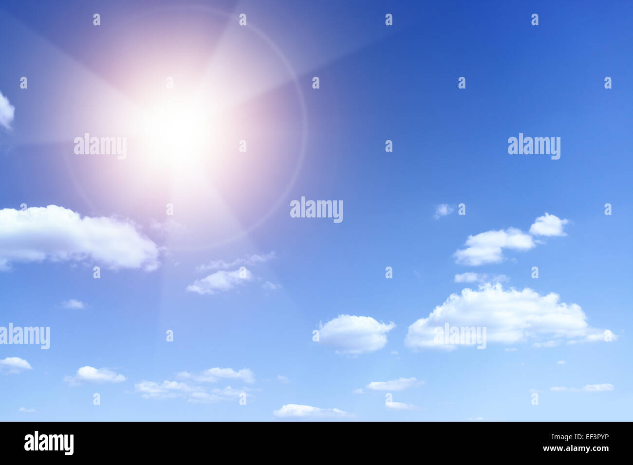 Sun with beams looking as danger radiation sign - Stock Image