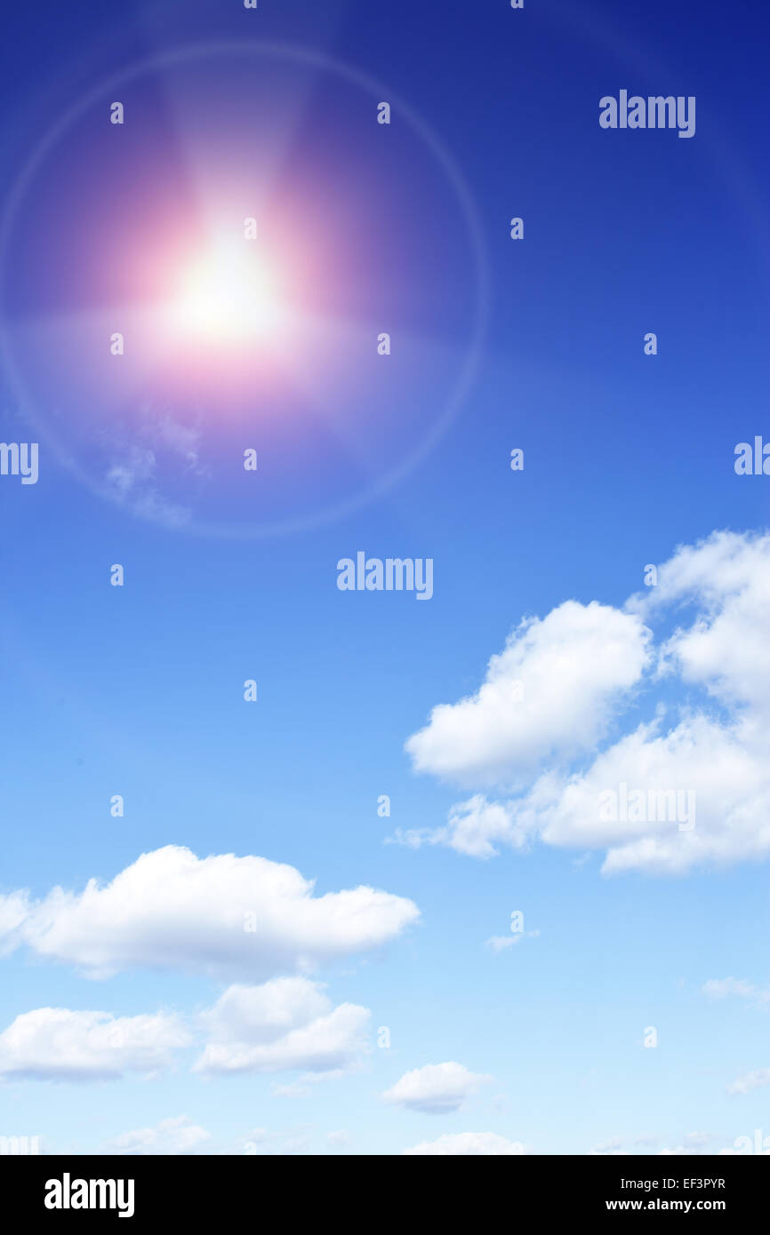 Solar radiation - Sun with beams looking as danger radiation sign - Stock Image