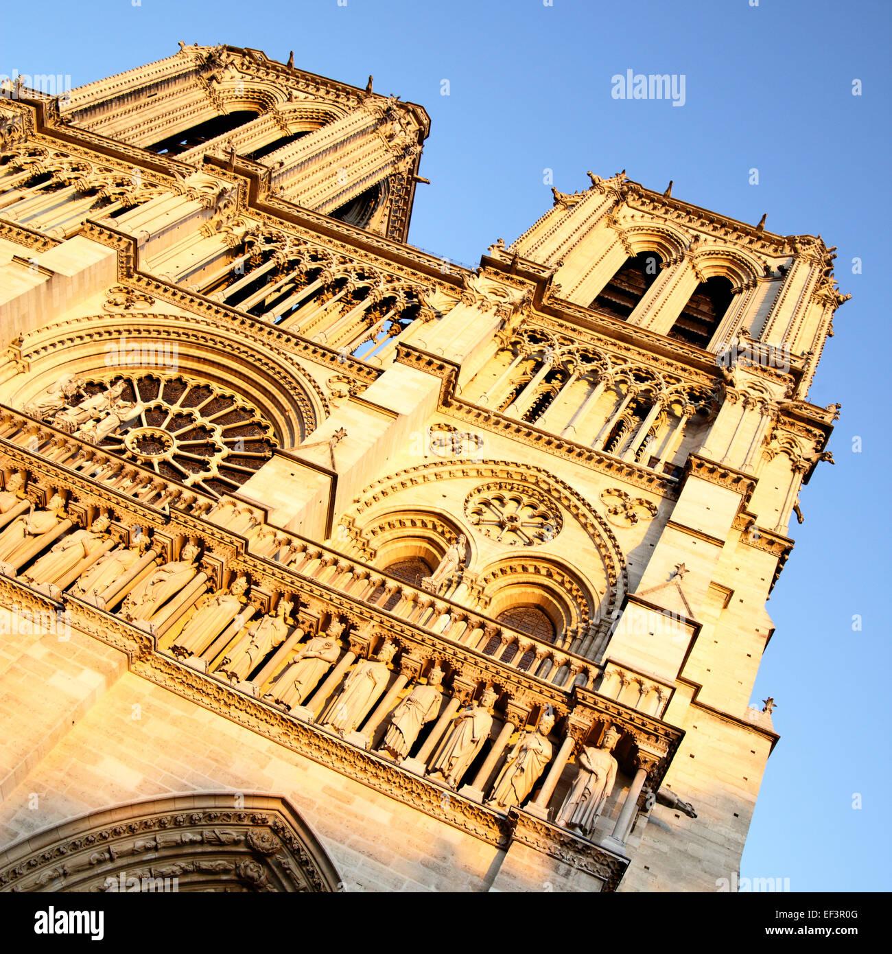 Evening view of Notre Dame de Paris, France - Stock Image