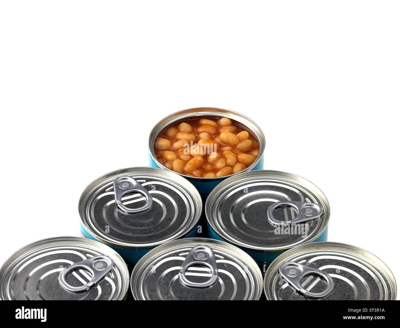 baked beans in can - Stock Image