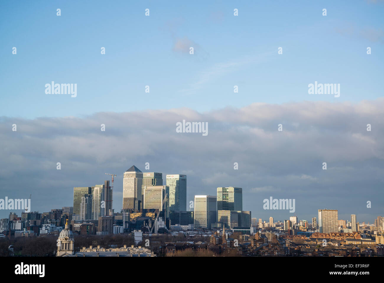Canary Wharf on the Isle of Dogs from the Greenwich Royal Observatory, London, Uk - Stock Image