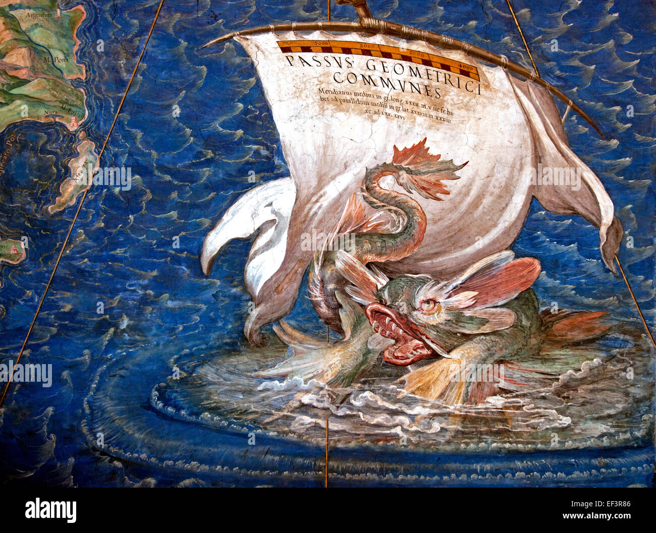 A galleon in the Adriatic, detail from the 'Galleria delle Carte Geografiche', 1580-83 Danti, Egnazio (1536 - Stock Image