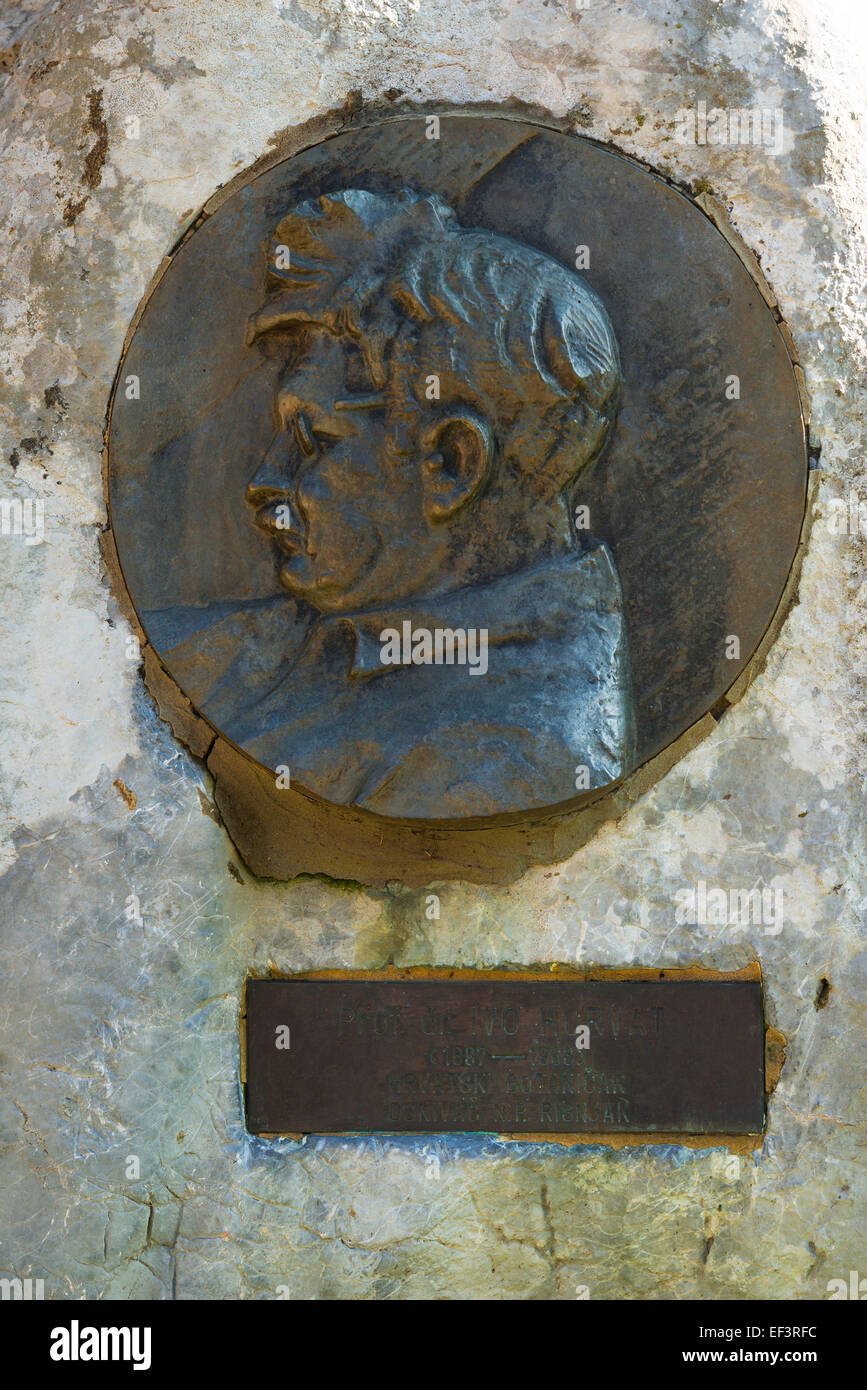 Memorial to Ivo Horvat (famous botanist who mapped the park), Risnjak National Park, CroatiaStock Photo