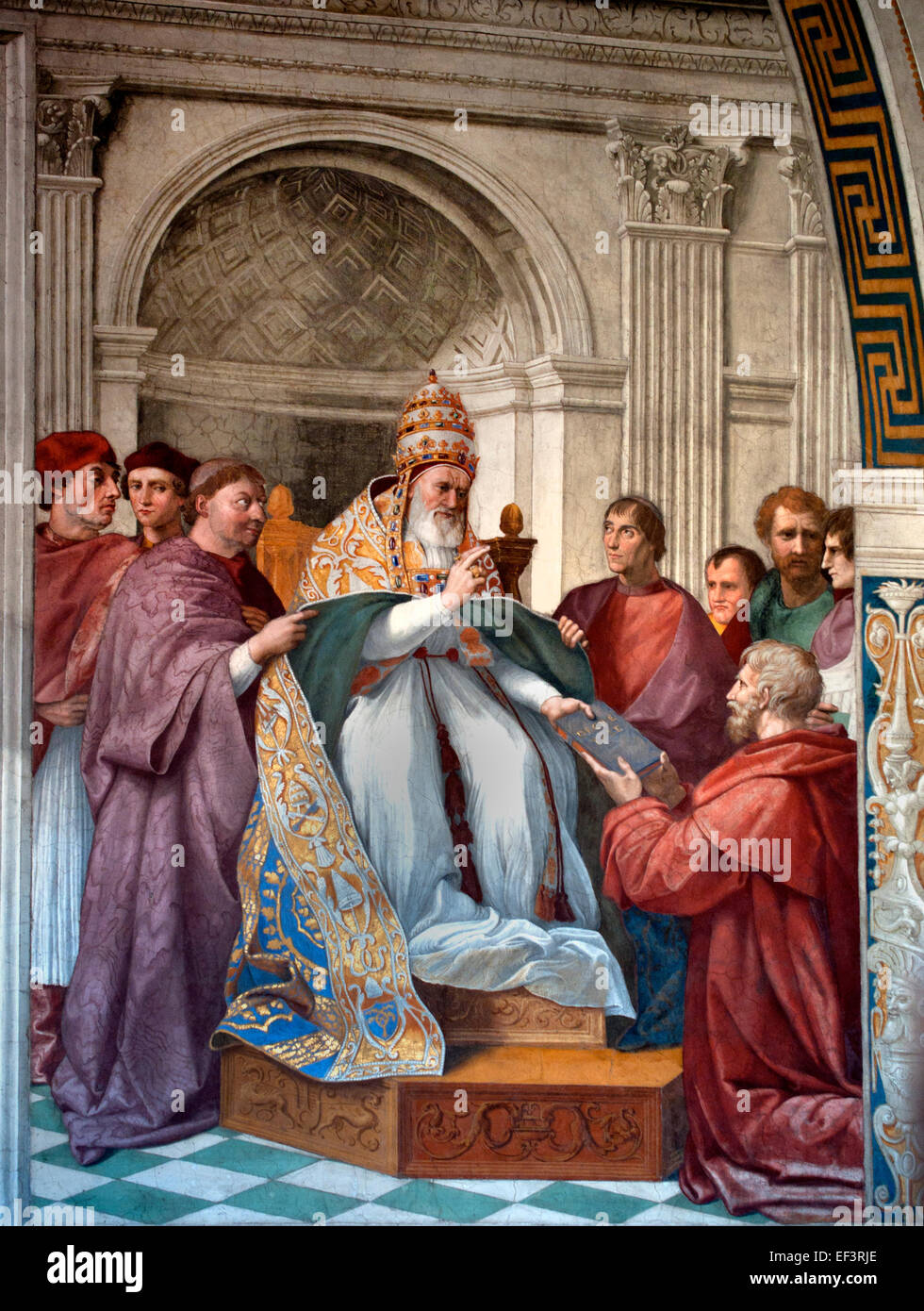The Delivery of the Decretals to Pope Gregory IX, a wall fresco in the Raphael Rooms. The painting depicts Pope - Stock Image