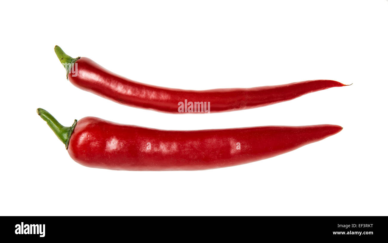 Two red chilli peppers, cutout - Stock Image