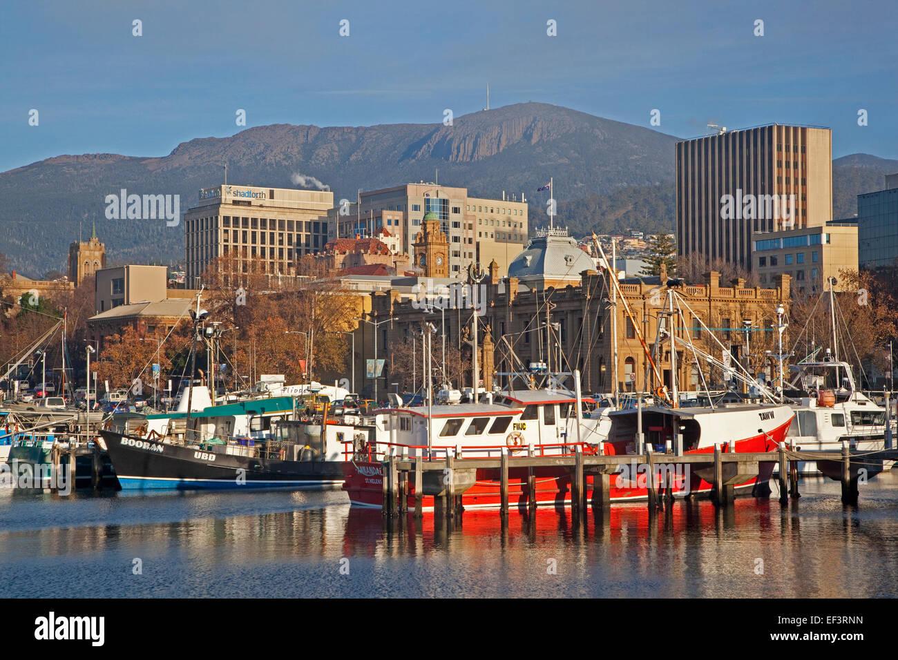 Fishing boats docked in the Hobart harbour, Tasmania, Australia - Stock Image