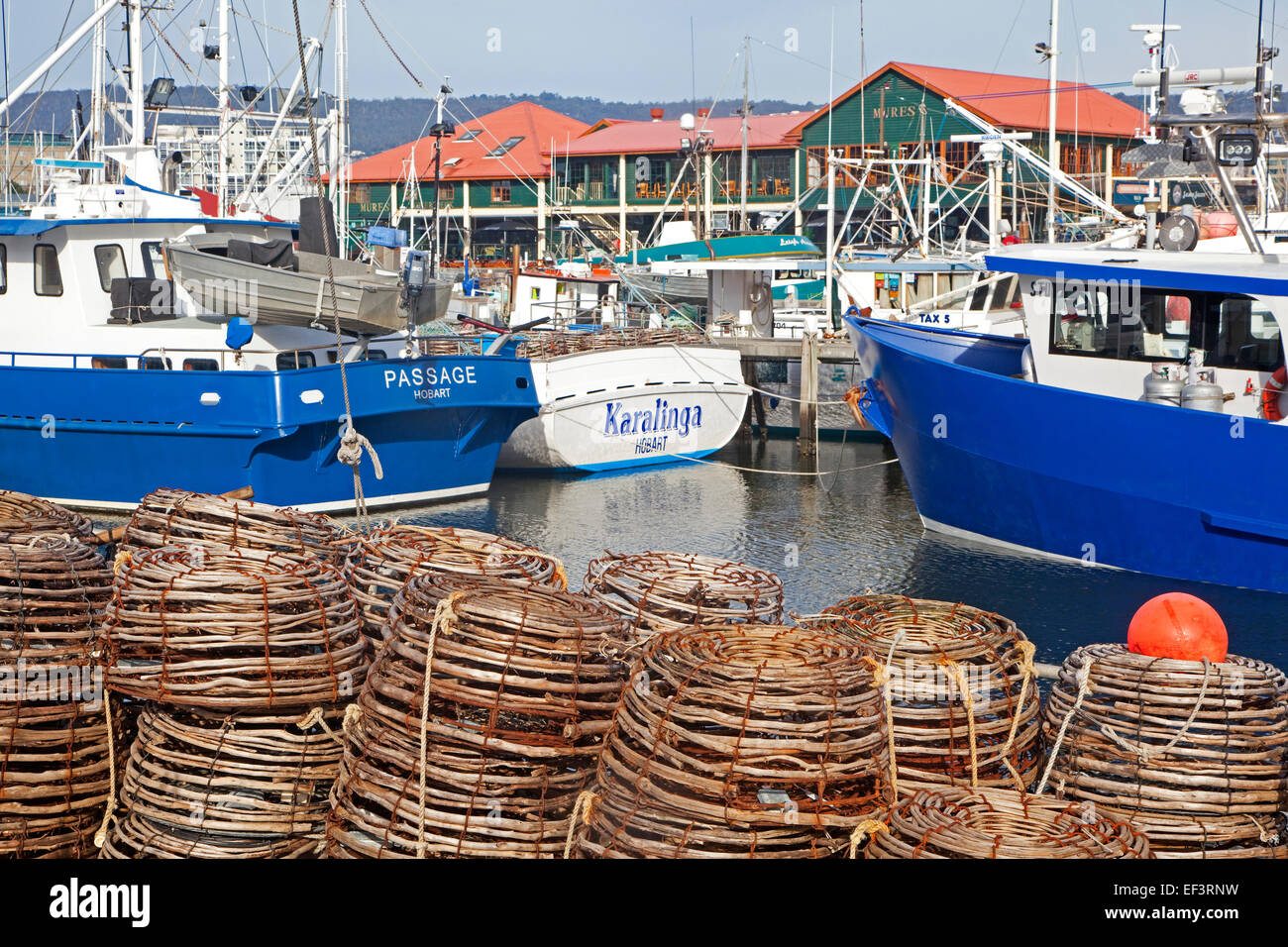 Lobster traps  / crawfish pots and fishing boats docked in the Hobart harbour, Tasmania, Australia - Stock Image