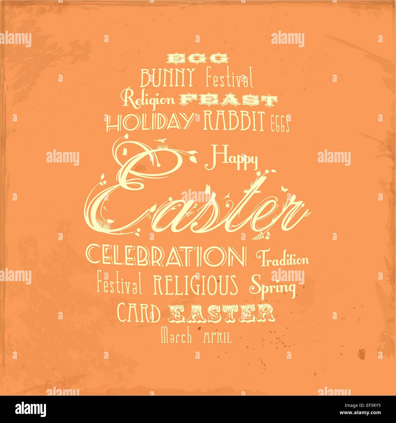 Easter Typographic Egg on Orange Distressed Background - Stock Image