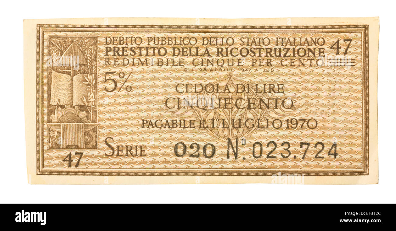 Old Italy bonds Stock Photo