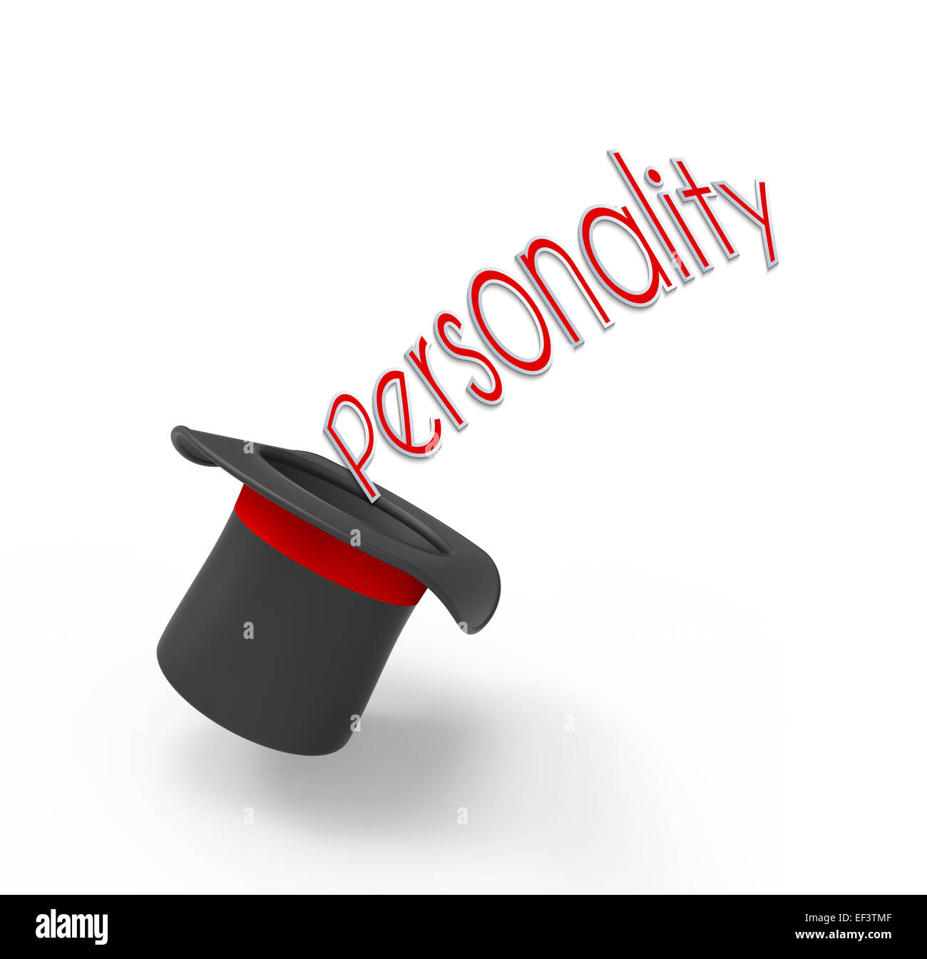 Illusionist's top hat on white background with pop-up caption 'Personality'. Concept for secrets hidden - Stock Image