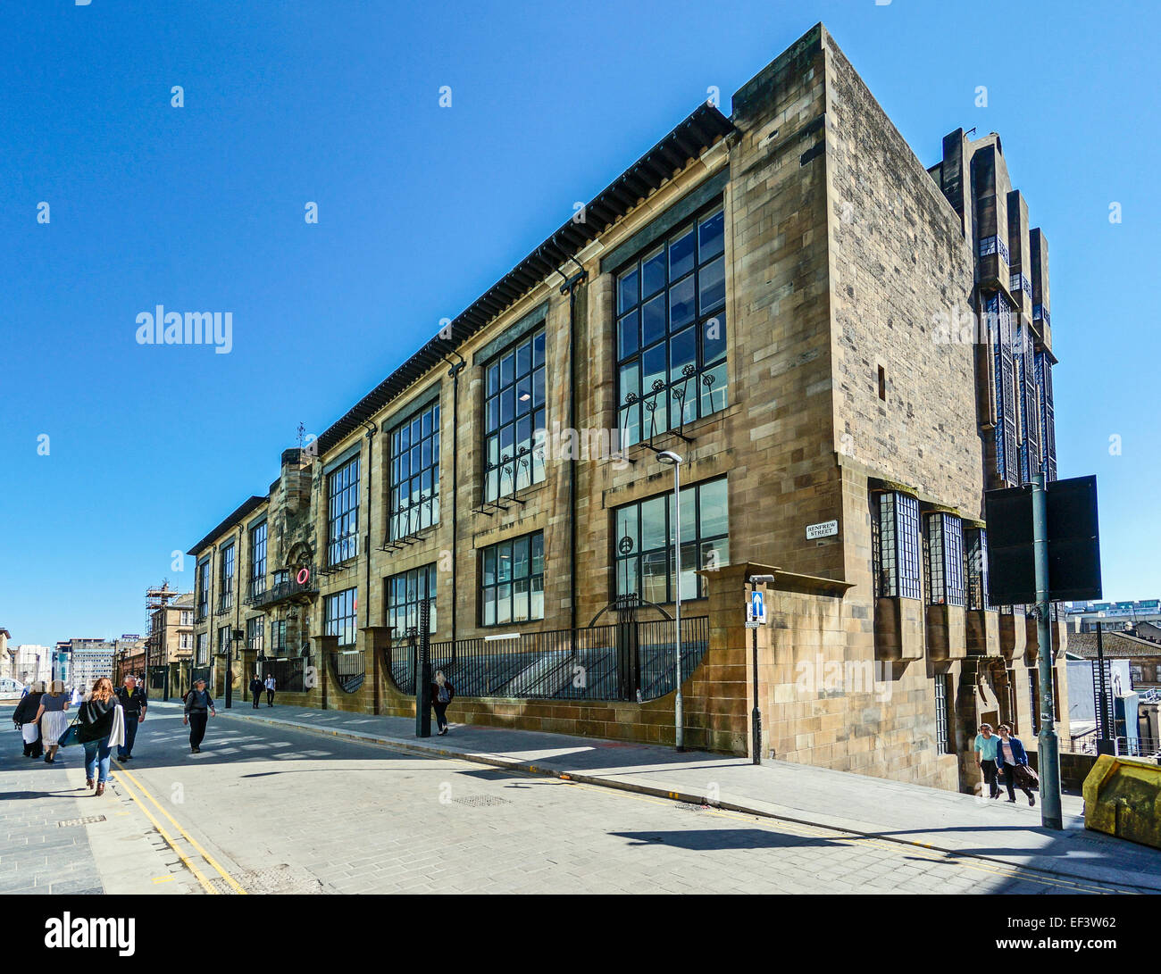 The Glasgow School of Art in Renfrew Street Glasgow Scotland designed by Charles Rennie Mackintosh seen from west - Stock Image
