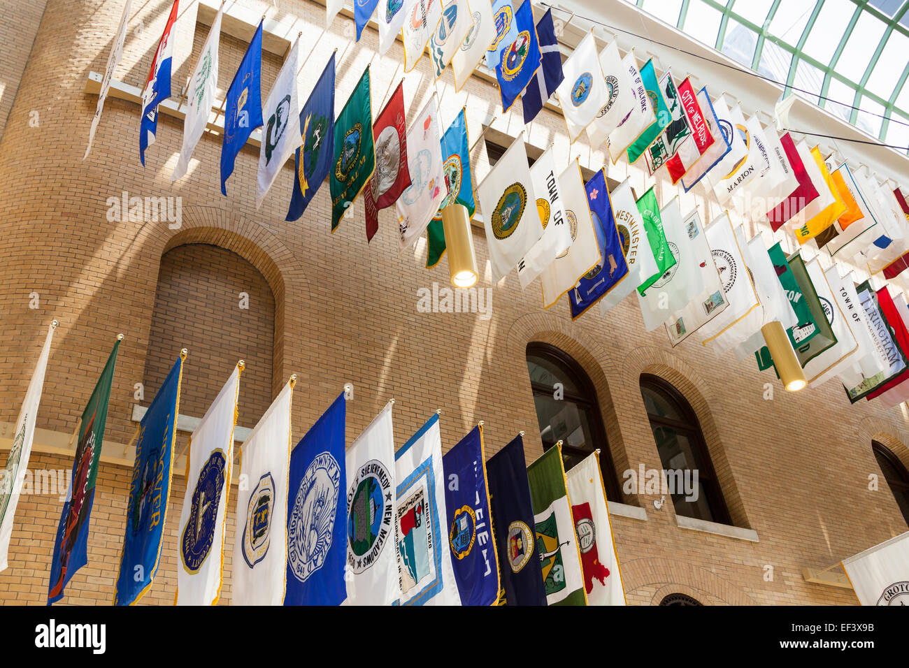 Town And City Flags In The Great Hall Of Flags M Achusetts State House Boston M Achusetts Usa