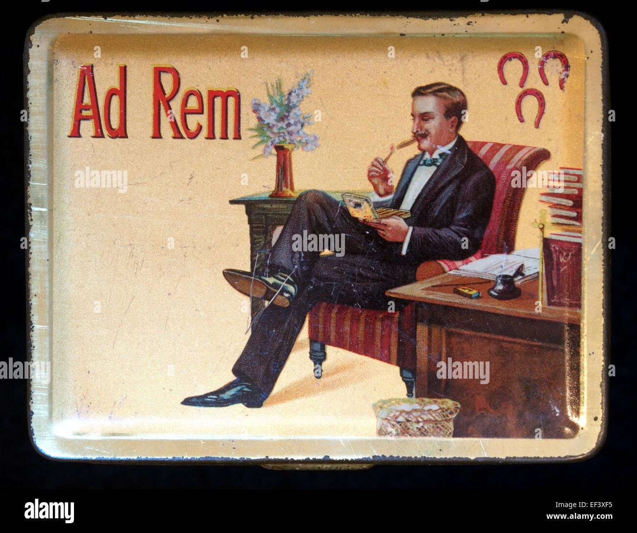 Ad Rem sigarenblikje - Stock Image