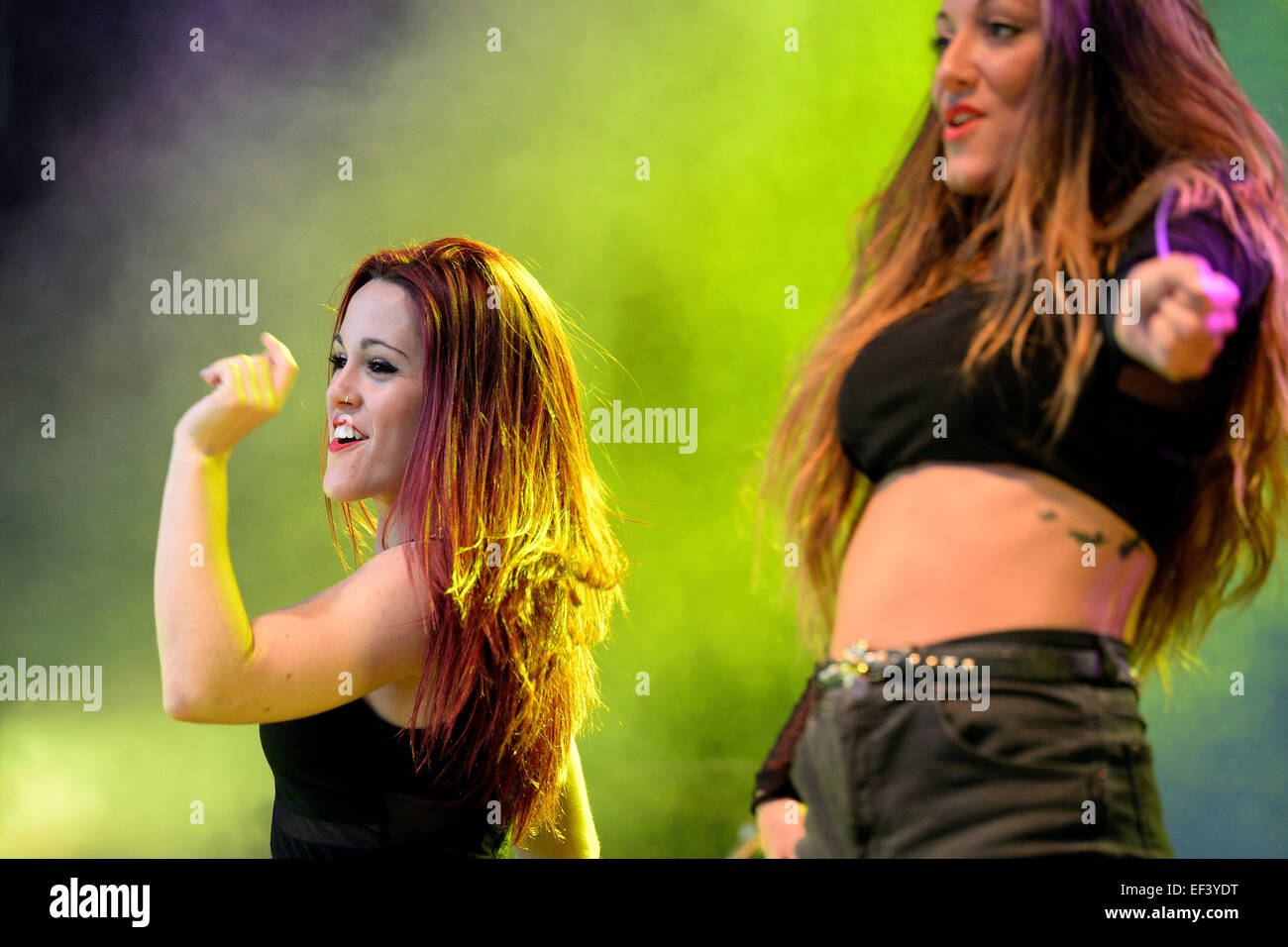 BARCELONA - MAY 23: Woman dancing a choreography at the Primavera Pop Festival of Badalona on May 18, 2014 in Barcelona, - Stock Image