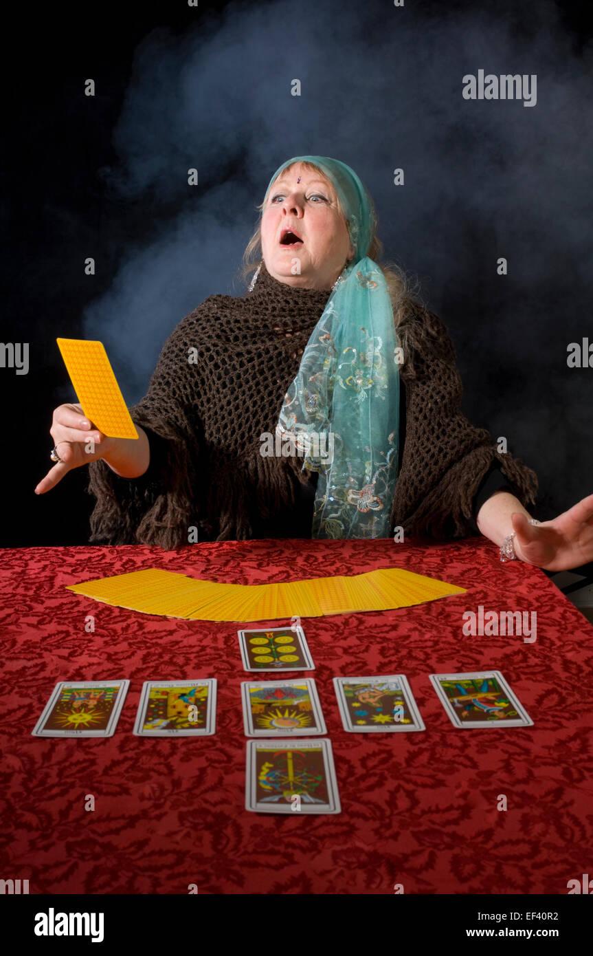 Tarot card reader - Stock Image