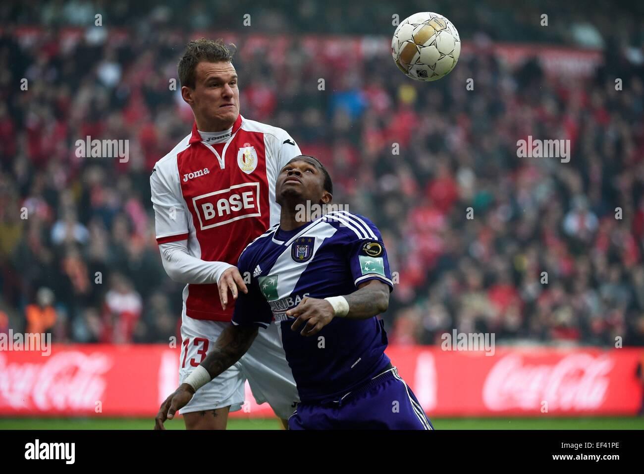 Liege, Belgium. 25th Jan, 2015. Jupiler Football League. Standard Liege versus Anderlecht. Scholz Alexander of Standard - Stock Image