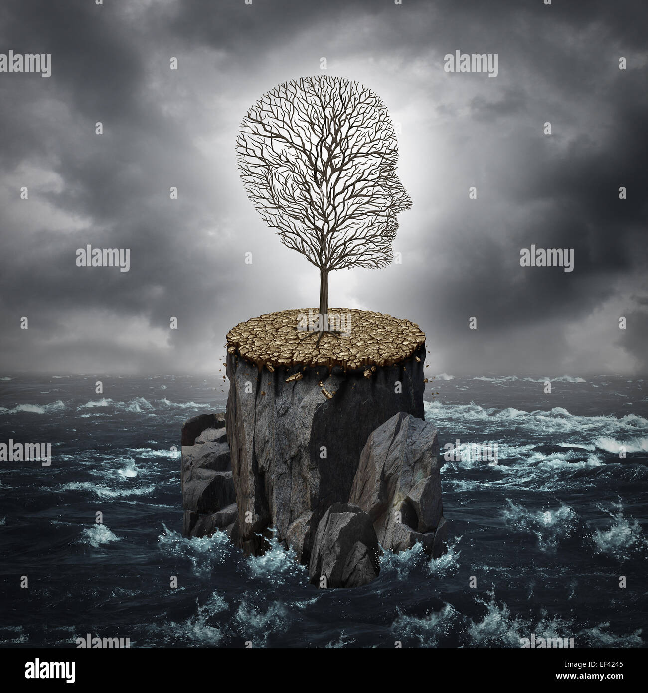 Failure crisis concept and lost business career or education opportunity metaphor as a dying tree shaped as a human - Stock Image