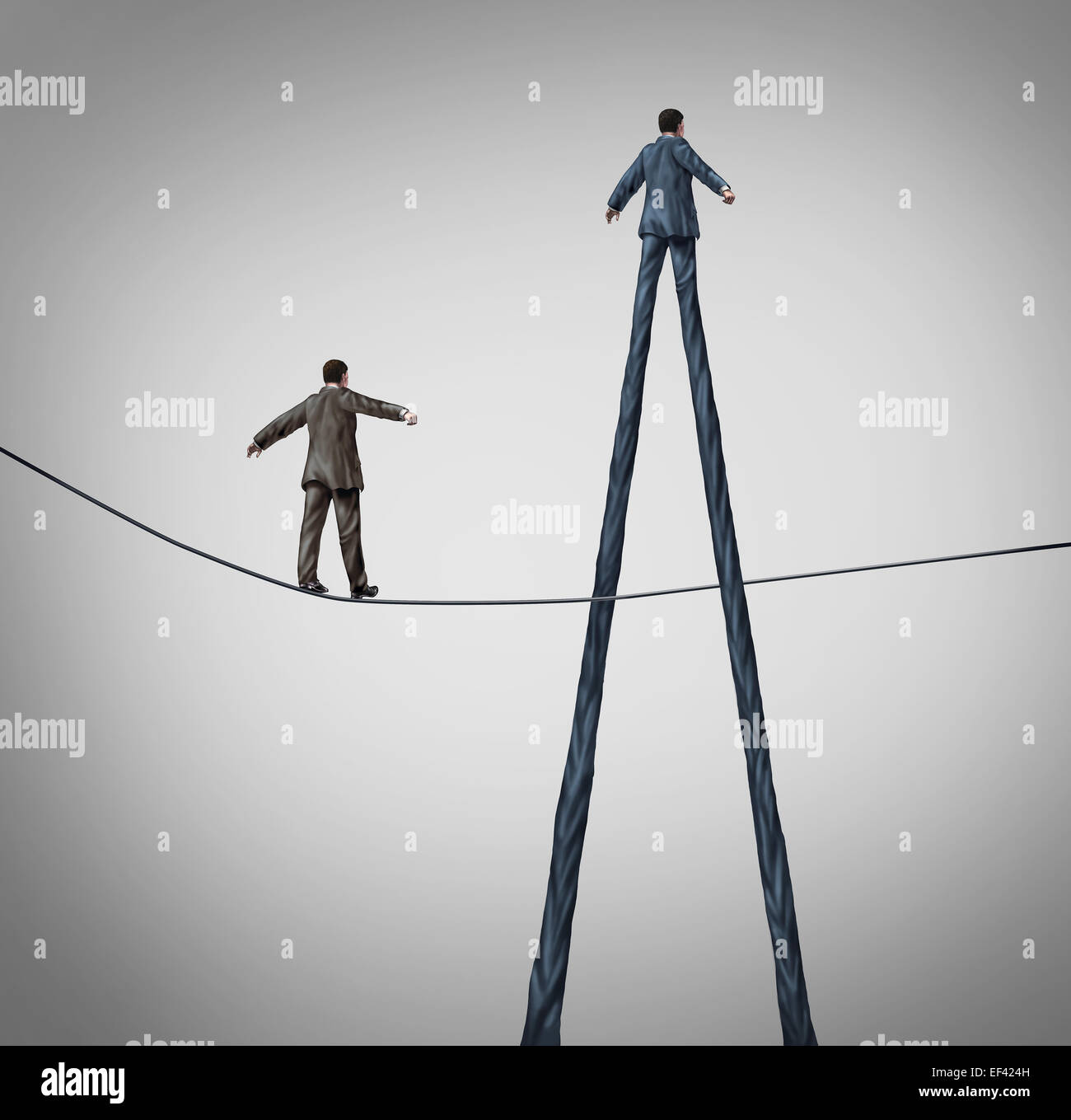 Career advantage business concept as a businessman walking on a high wire tightrope being passed by another better - Stock Image