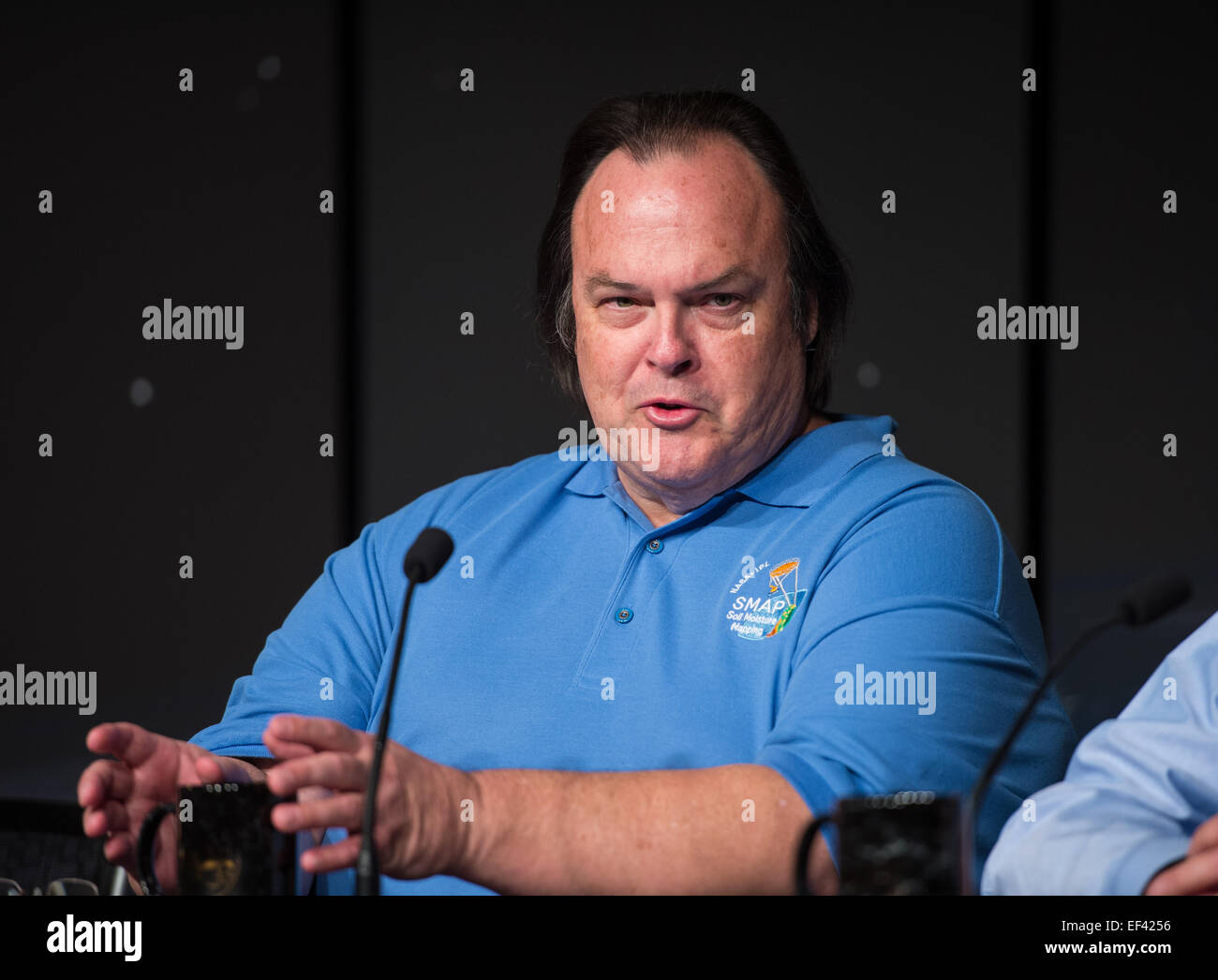Kent Kellogg, SMAP project manager at NASA's Jet Propulsion Laboratory (JPL) in Pasadena, CA, speaks during a briefing - Stock Image