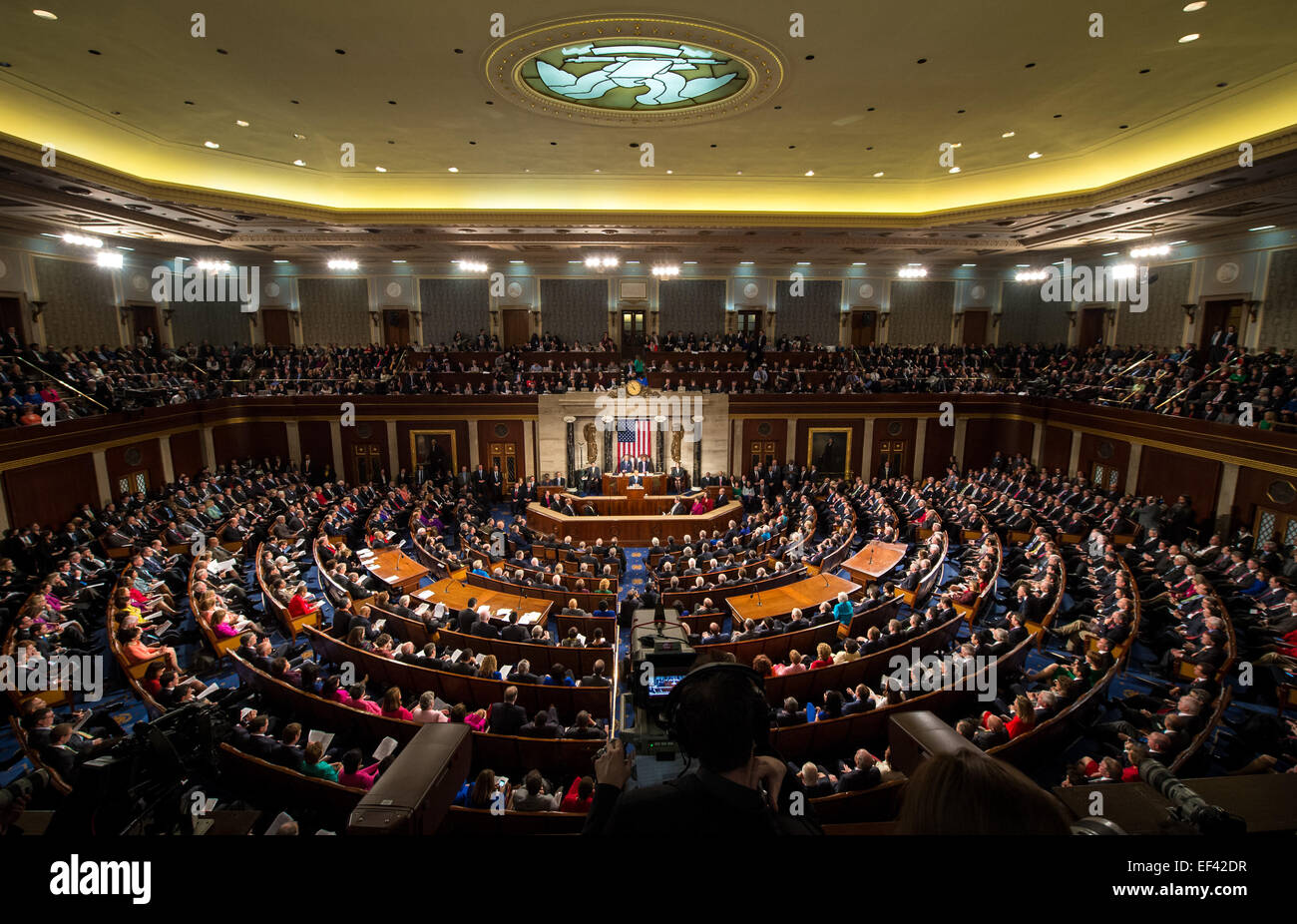President Barack Obama delivers his State of the Union address to a joint session of Congress on Capitol Hill on Stock Photo