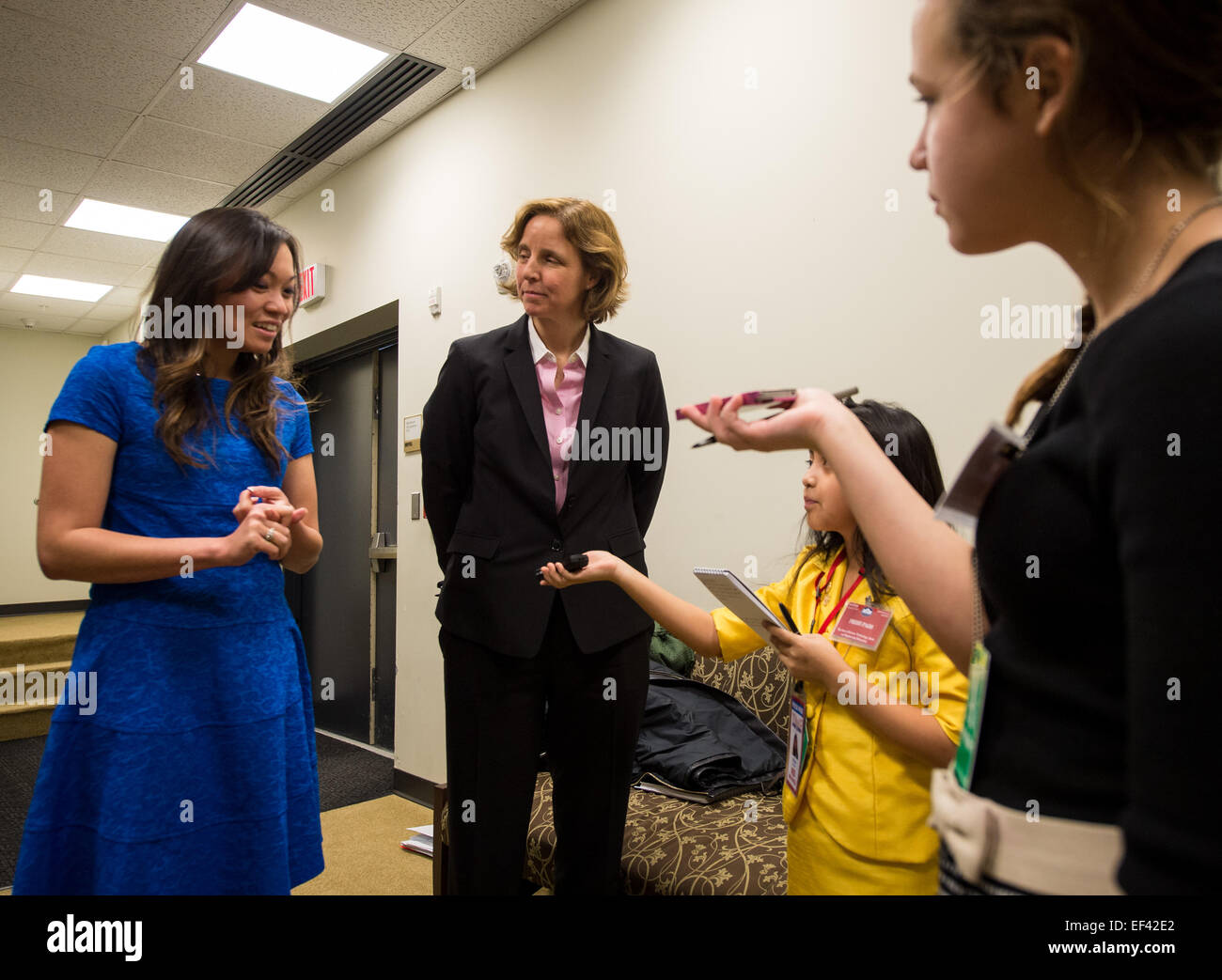 Kathy Pham of U.S. Digital Service, left, and United States Chief Technology Officer (CTO) Megan Smith answer questions - Stock Image