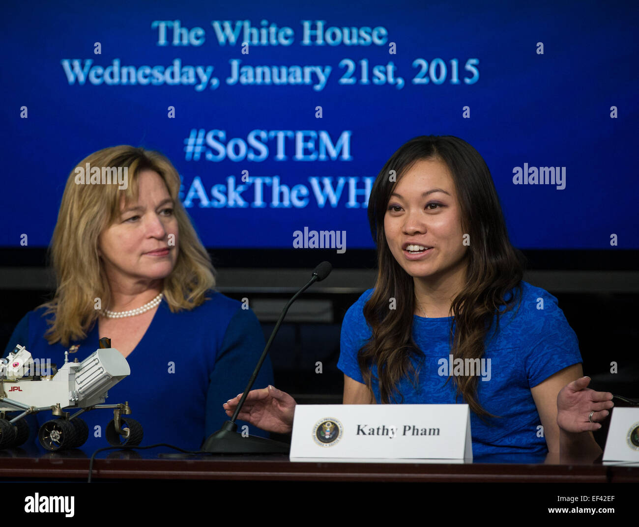 Kathy Pham of U.S. Digital Service, right, speaks as NASA Chief Scientist Ellen Stofan looks on during the annual - Stock Image