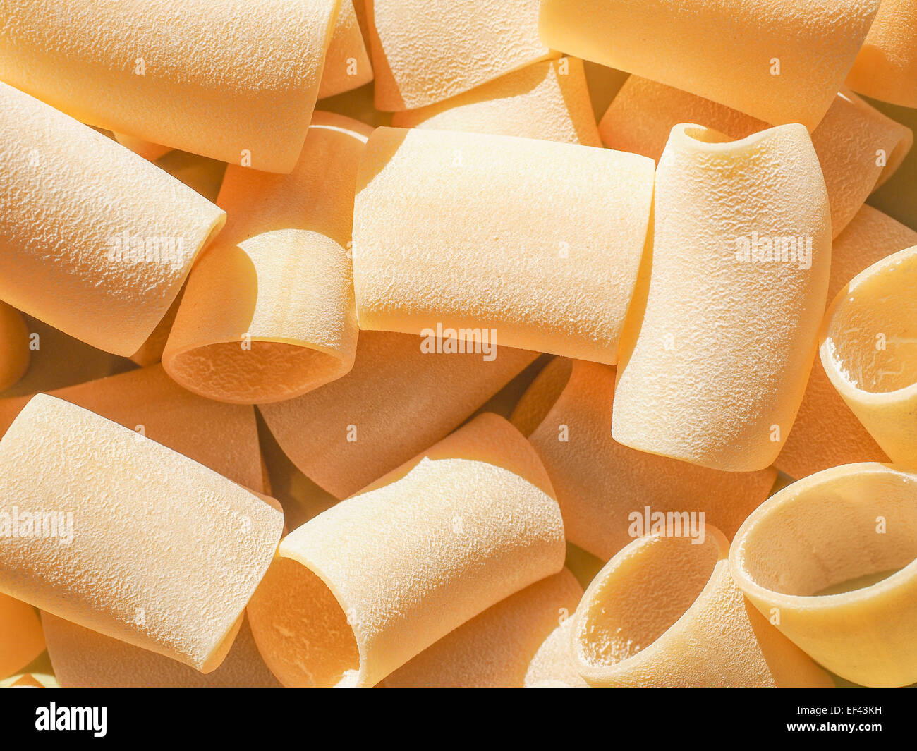 Italian paccheri pasta in the shape of large tubes from Campania and Calabria Stock Photo